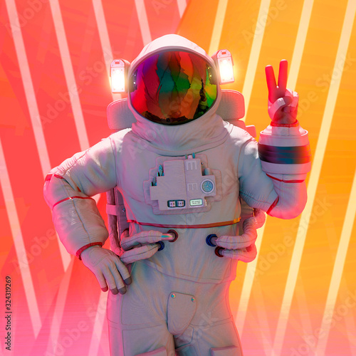 Fotomural astronaut peace and love pin up pose close up