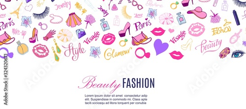 Beauty shop and fashion vector illustration. Glamour, stylish cloths, accessories for ladies, cosmetics, body care, paris typography banner. Modern concepts for beauty shop poster or web banner. - 324320671