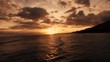 4K Aerial View: Golden Hour Sunset Over The Pacific Ocean