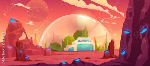 Vászonkép colonization of planet, space station, bunker
