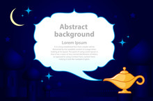 Magic Genie Lamp With Smoke With Place For Text On A Blue Background. Dark Background With Arabic Architecture Elements. Vector Illustration