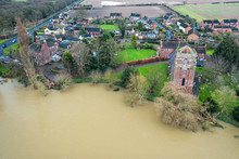 River Severn In Flood At Atcham In Shropshire