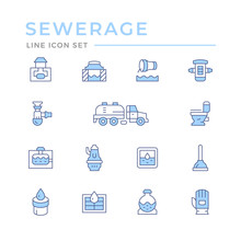 Set Color Line Icons Of Sewerage