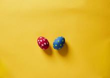 Polka Dot Eggs On Yellow Backg...