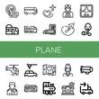 plane simple icons set