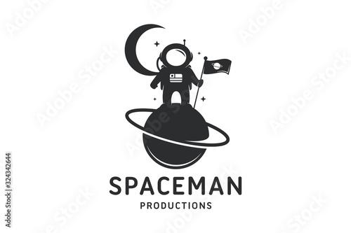 Astronaut Planet Logo Template Wallpaper Mural