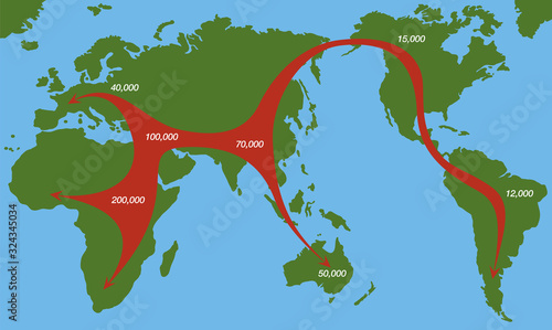 Fotografia, Obraz Human migration paths from africa 200000 years ago, with moving direction and time of settlement on the continents