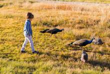 6 Year Old Boy Walking With Pe...