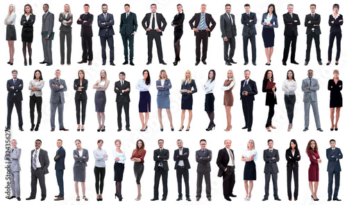 collage of a variety of business people standing in a row - 324356275