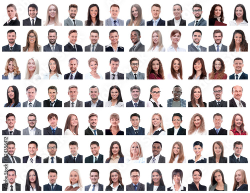 Fotografiet portraits of successful employees isolated on a white