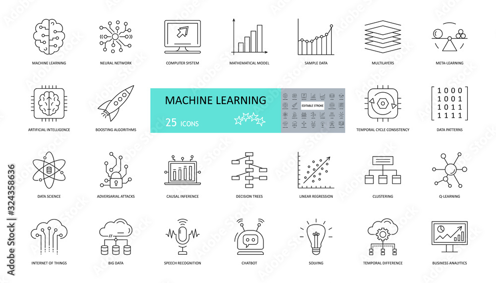 Fototapeta Set of machine learning icons. 25 editable stroke icons. Artificial intelligence, neural networks, mathematical model, patterns, chatbots, linear regression in data science and business analytics.