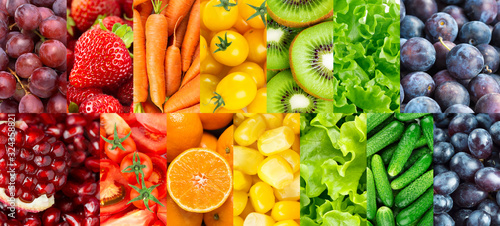 Fototapeta owoce   background-of-fruits-vegetables-and-berries-fresh-color-food