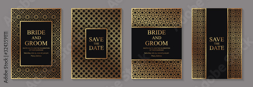 Photo Set of modern arabic luxury wedding invitation design or card templates for business or presentation or greeting with traditional golden ornament on a black background