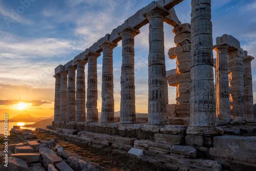 Poseidon temple ruins on Cape Sounio on sunset, Greece Canvas Print