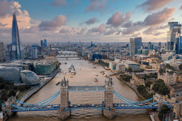 Fototapeta Mosty Beautiful aerial London view from above. Magical city of London with many buildings and narrow streets