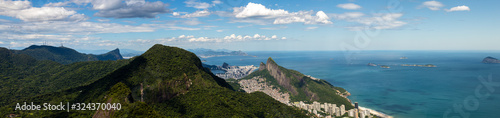 Rio de Janeiro vast panorama seen from mountains of the tropical rainforest with Canvas Print
