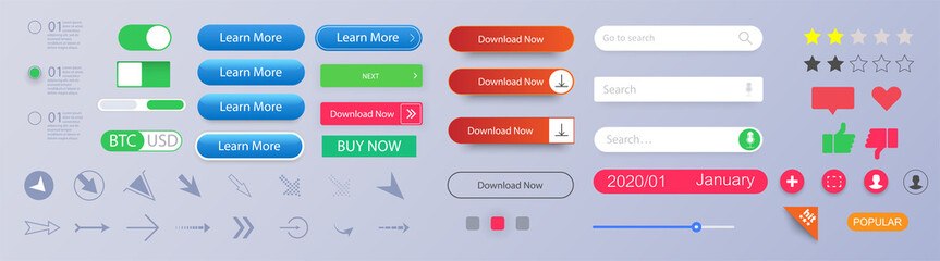 Set of vector modern material style buttons. Different gradient colors and icons. Empty web buttons. Colorful navigation long web button. Interface buttons. Search bar. Web UI elements for browsers.