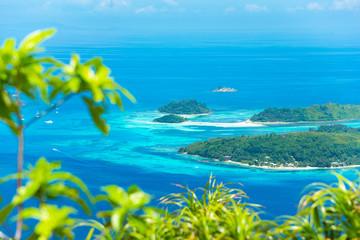 Fototapeta na wymiar Beautiful panoramic view from above at Seychelles Islands at the Indian ocean