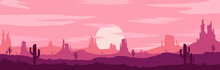 Vector Illustration Of Sunset And Twilight Desert Panoramic View With Mountains And Cactus - Flat Cartoon Style