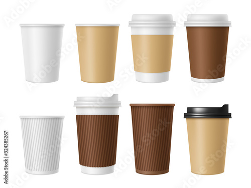 Disposable coffee cup. Blank vector template of hot coffee white paper mug. Realistic illustrations of coffee cup 3D mockup