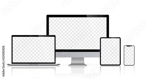 Obraz na plátně Realistic set monitors desktop laptop tablet and phone reflect with checkerboard screen and white background V4
