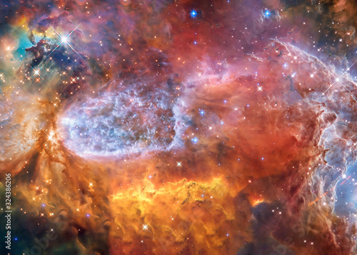 Fototapeta Somewhere in extreme deep space far galaxies and stardust in bright colors