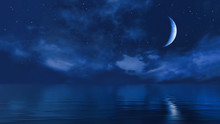 Half Moon In Starry Night Sky ...