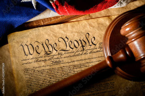 The American constitution, a gavel, and the United States flag Wallpaper Mural