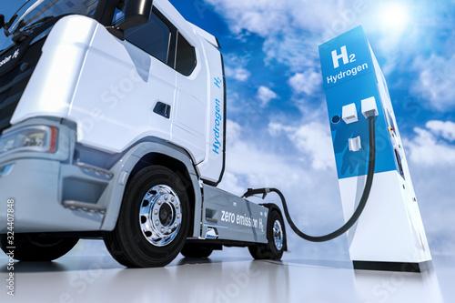 Fotografía hydrogen logo on gas stations fuel dispenser