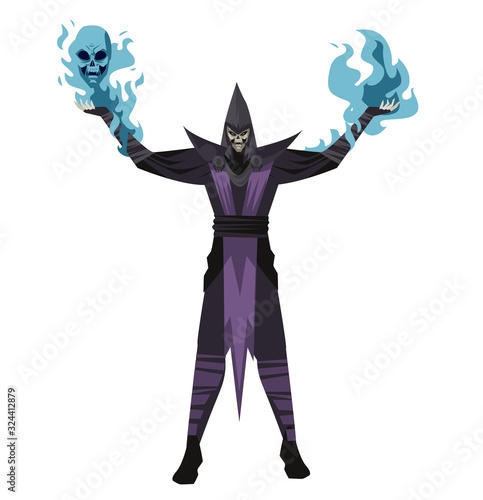 Photo evil undead necromancer dark wizard