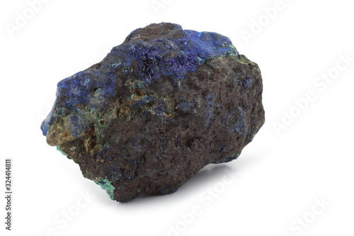 Raw azurite malachite mineral isolated on white Canvas Print