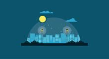City Park At Night Vector Illu...