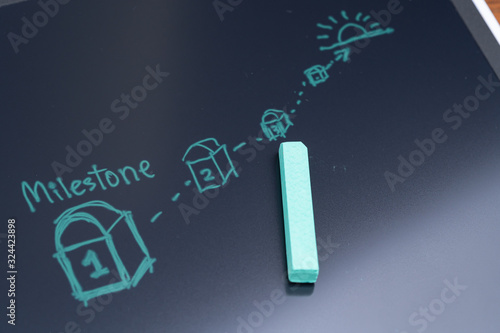 Fotografía Milestone for project or life planning concept, green chalk drawing milestone wi