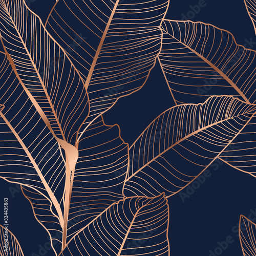 Tapeta do salonu  banana-palm-tree-leaves-seamless-pattern-texture-copper-gold-shiny-glow-outline-navy-dark