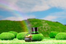 Rainbow With Leprechaun Hat And A Pot Of Gold