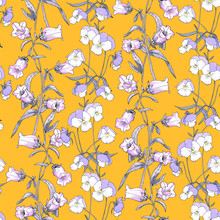 Floral Seamless Pattern With Wildflowers. Pansies, Campanula On A Background Of Mustard.