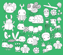 A Vector Set Of Many Bugs In Black And White Colors