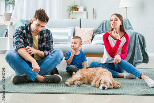 Family suffering from pet allergy at home Canvas Print