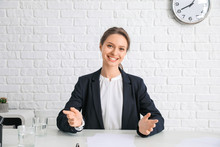 Young Woman During Job Interview In Office