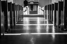 Aisle Of Old Country Church In...