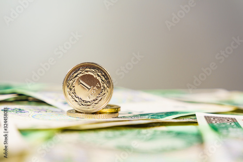 Fotomural Close up polish zloty banknotes and coins