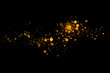 Leinwandbild Motiv Gold glittering light bokeh abstract particles in dark background.
