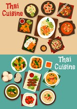 Thai Seafood And Meat Vector Dishes With Rice, Noodles. Tom Yum And Kha Gai Soups With Vegetables, Chicken And Shrimps, Nut And Ginger Sauce, Spring Roll, Curry And Pork Satay, Fruit Salads, Ice Cream