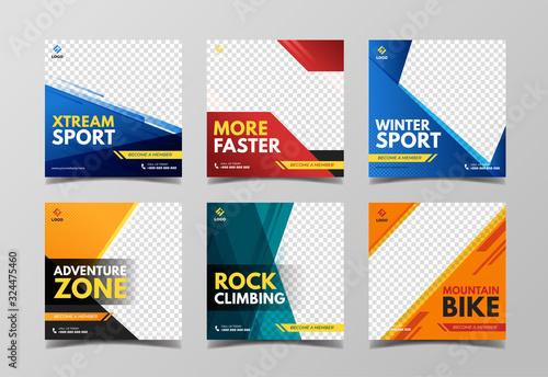 Obraz Sport social media post template. Adventure, mountain climbing and extreme sport banner - fototapety do salonu