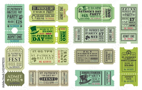 Obraz St Patricks Day party ticket vector templates of Irish pub religious holiday celebration. Admit one coupons with shamrock and green beer, leprechaun hats, lucky clover leaves and horseshoes - fototapety do salonu