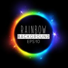 Bright Rainbow Neon Circle On ...
