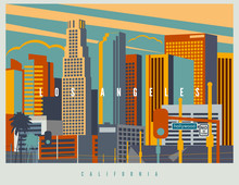 Downtown Los Angeles In Vector...