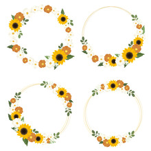 Yellow Sunflower Wreath With Golden Round Frame For Spring Or Autumn Collection Eps10 Vectors Illustration