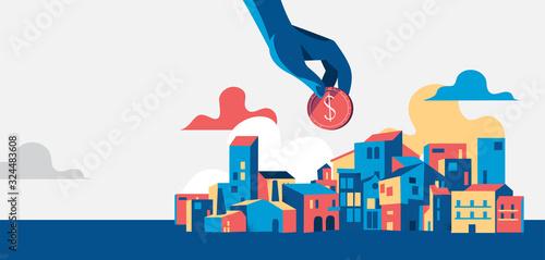 Fototapeta Mano che tiene una moneta del dollaro, paesaggio urbano con case e edifizi - illustrazione vettoriale obraz