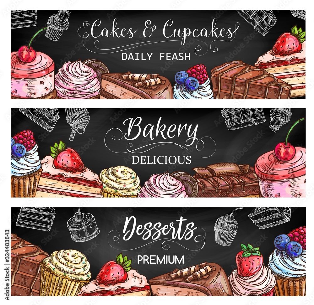 Fototapeta Bakery shop sweet desserts and cakes, pastry and patisserie vector sketch banners. Cakes and chocolate cupcakes with berry toppings, fruit souffle and waffle biscuits, brownie, tiramisu and cheesecake
